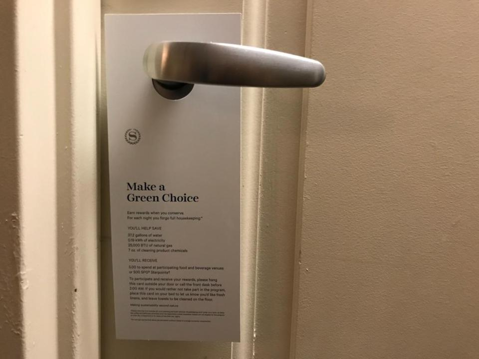 The Make a Green Choice sign Sheraton Boston hotel guests can hang on their door to opt out of housekeeping.
